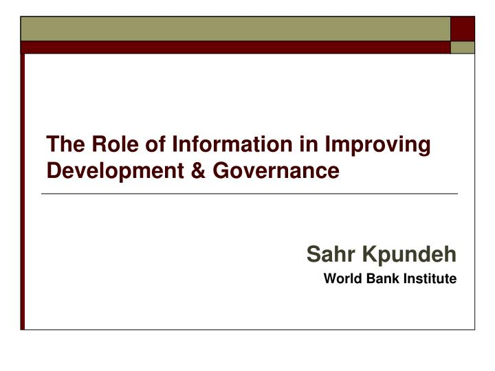 the role of information in improving development governance n.