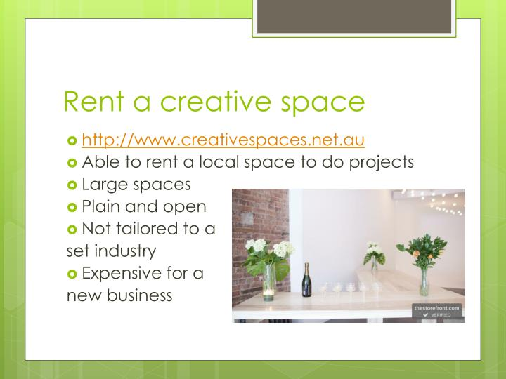 Rent a creative space