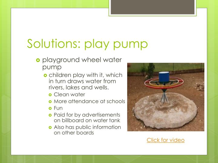 Solutions: play pump