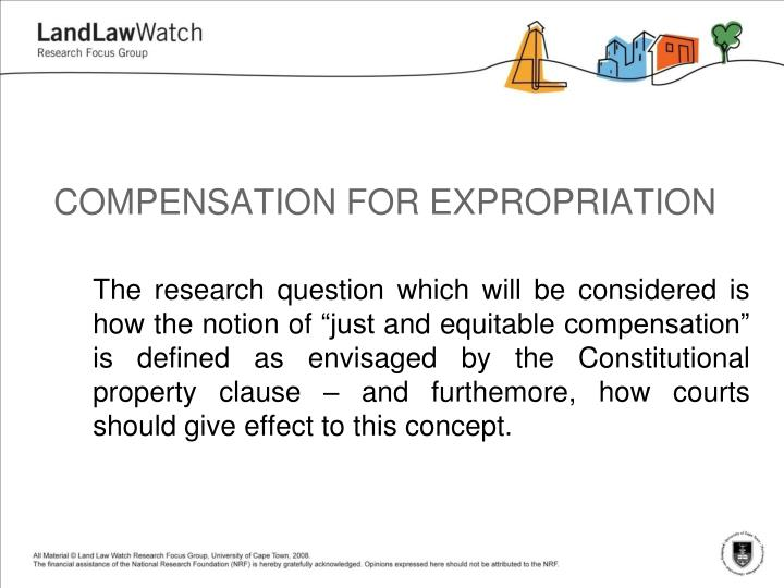 compensation for expropriation n.