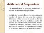 arithmetical progressions