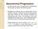 geometrical progressions