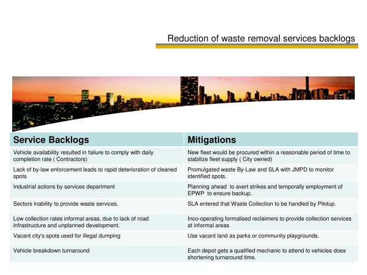 Reduction of waste removal services backlogs