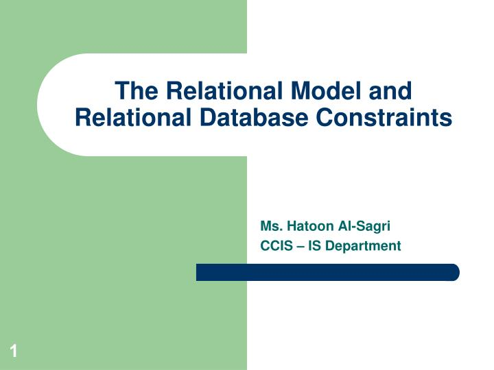 the relational model and relational database constraints n.
