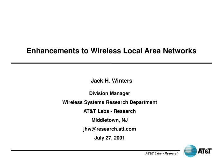 enhancements to wireless local area networks n.