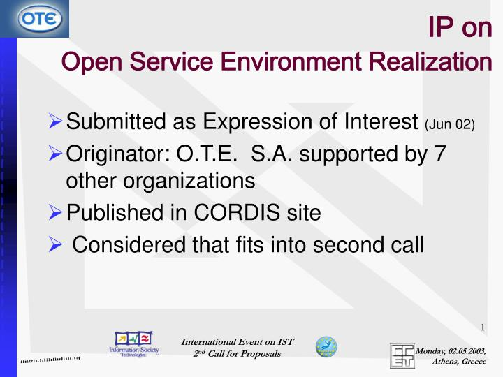 ip on open service environment realization n.