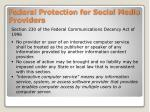 federal protection for social media providers