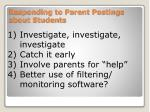responding to parent postings about students