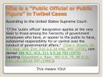 who is a public official or public figure in twibel cases