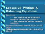 lesson 28 writing balancing equations