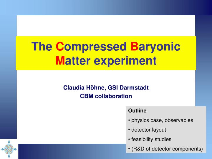 the c ompressed b aryonic m atter experiment n.