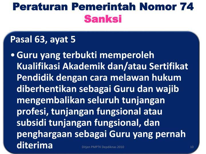 Peraturan Pemerintah Nomor 74