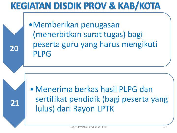 KEGIATAN DISDIK PROV & KAB/KOTA