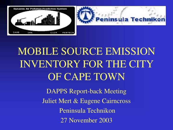 mobile source emission inventory for the city of cape town n.