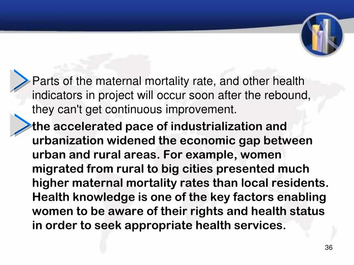 Parts of the maternal mortality rate, and other health indicators in project will occur soon after the rebound, they can't get continuous improvement.