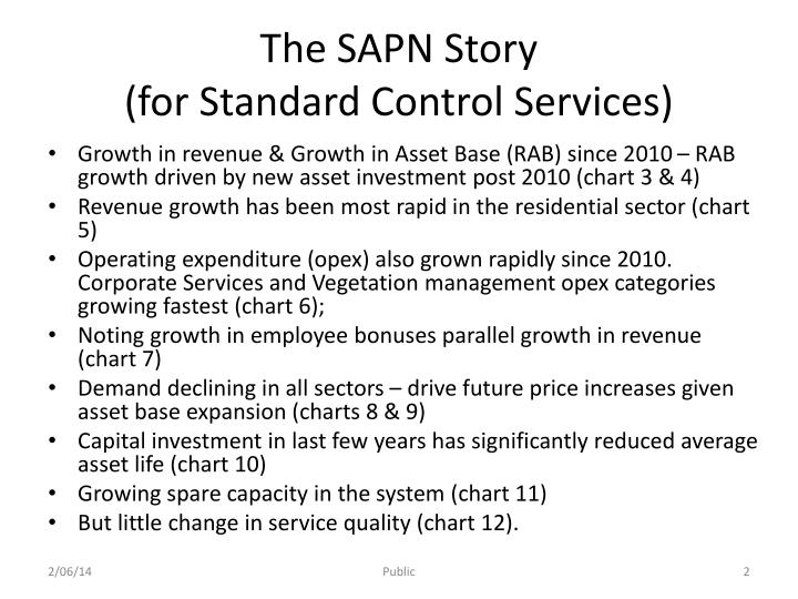 The sapn story for standard control services