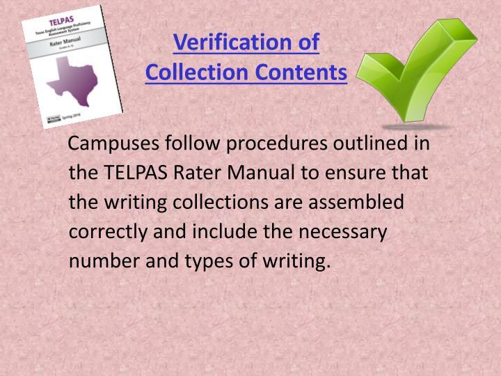Verification of