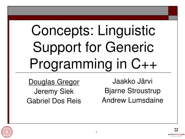 concepts linguistic support for generic programming in c n.