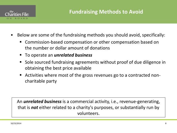 Fundraising Methods to Avoid