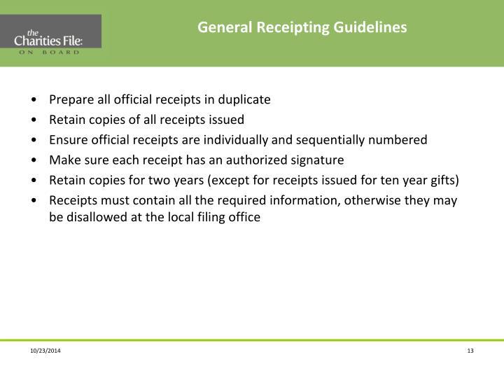 General Receipting Guidelines