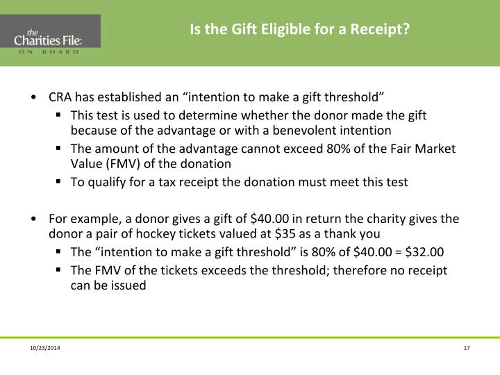 Is the Gift Eligible for a Receipt?