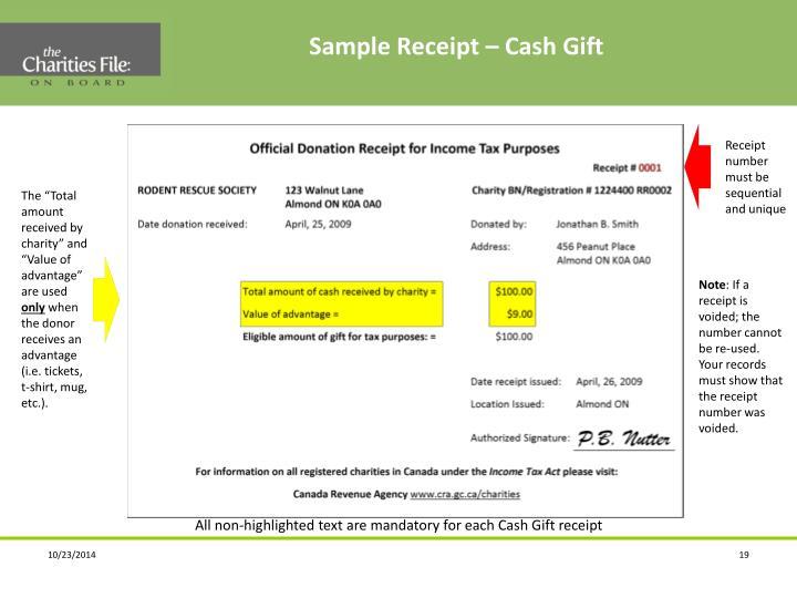 Sample Receipt – Cash Gift