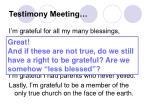 testimony meeting