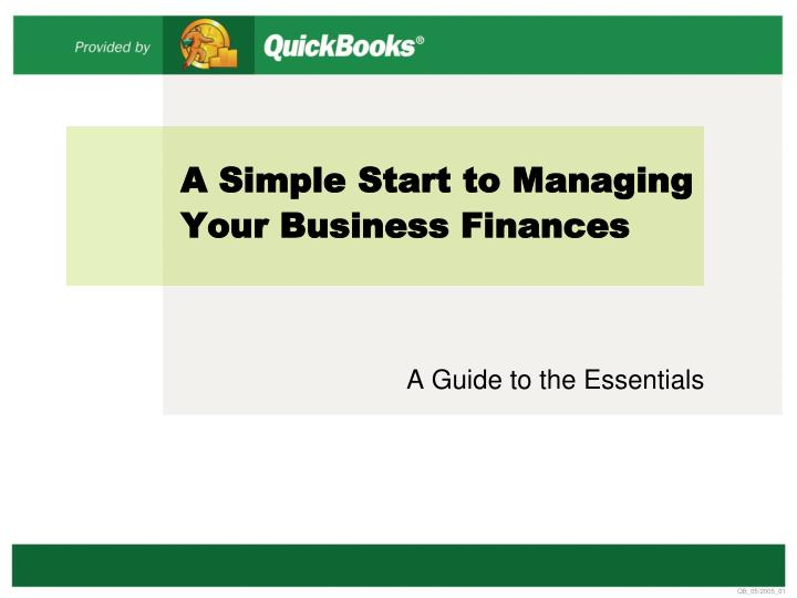 a simple start to managing your business finances n.