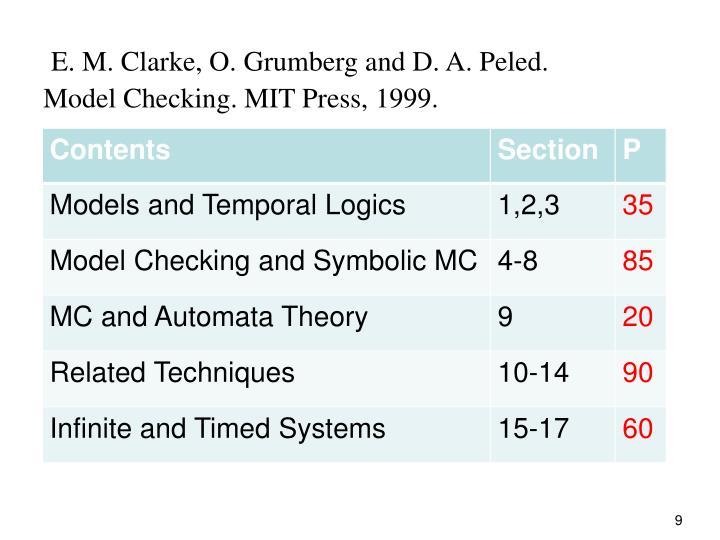 E. M. Clarke, O. Grumberg and D. A. Peled.