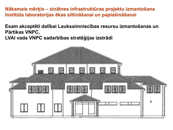 Nākamais mērķis – zinātnes infrastruktūras projektu izmantošana Institūta laboratorijas ēkas siltināšanai un paplašināšanai