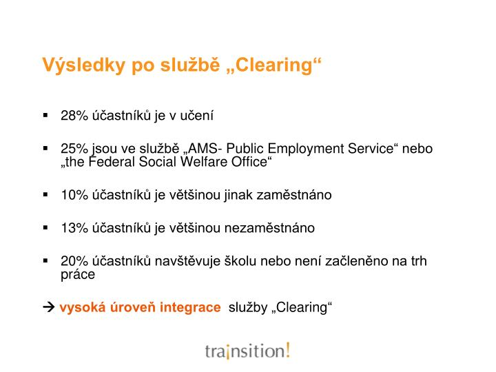 "Výsledky po službě ""Clearing"""