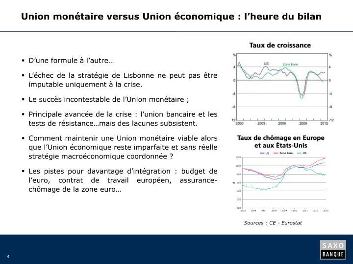Union monétaire versus Union économique: l'heure du bilan