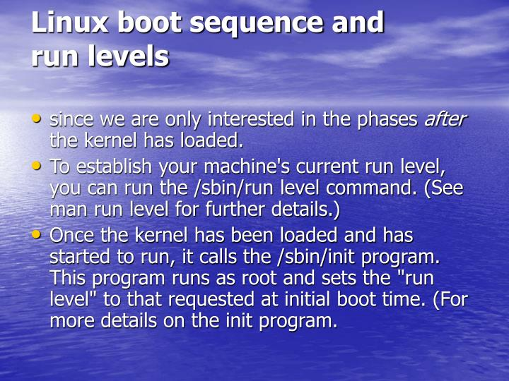 Linux boot sequence and run levels