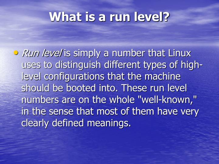 What is a run level?