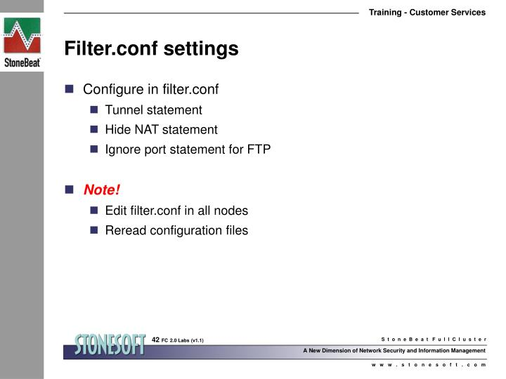Filter.conf settings