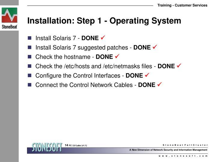 Installation: Step 1 - Operating System