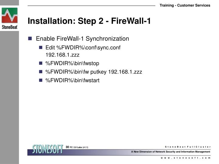 Installation: Step 2 - FireWall-1