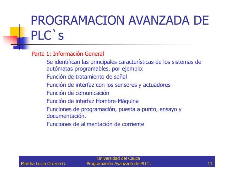 PROGRAMACION AVANZADA DE PLC`s