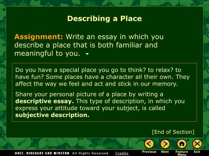 Ppt  Writing Workshop Describing A Place Powerpoint Presentation  Describing A Place