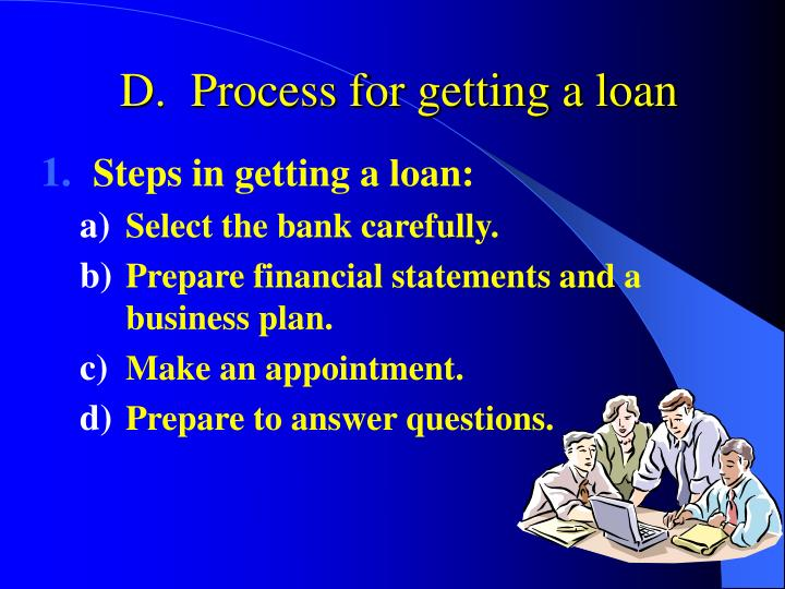 D.  Process for getting a loan