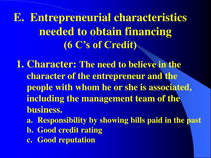 Entrepreneurial characteristics needed to obtain financing