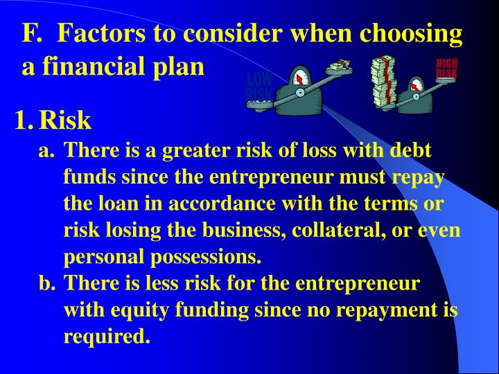 F.  Factors to consider when choosing a financial plan