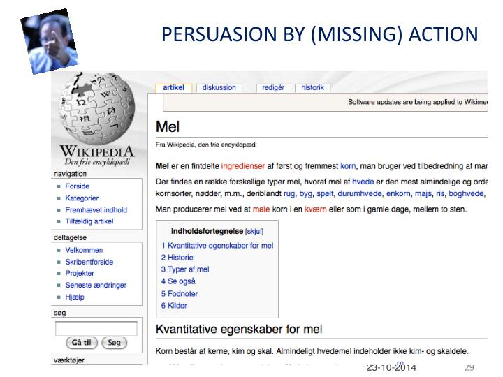 PERSUASION BY (MISSING) ACTION