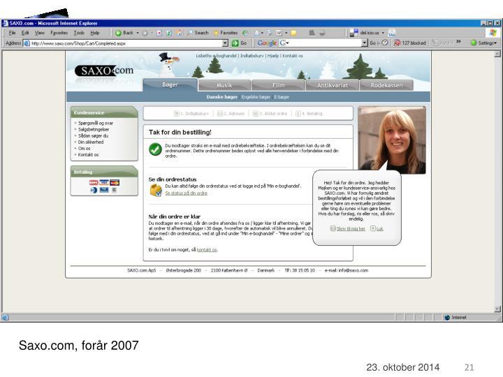 Saxo.com, forår 2007