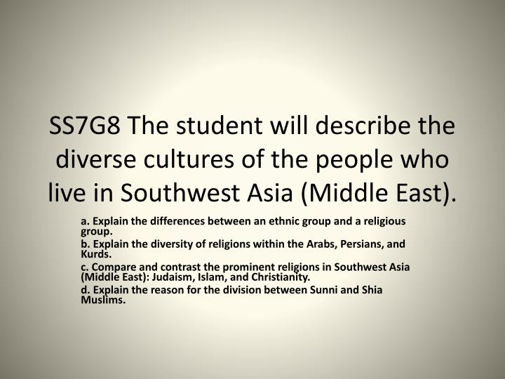 SS7G8 The student will describe the diverse cultures of the people who live in Southwest Asia (Middl...