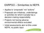 earpgo similarities to nepa