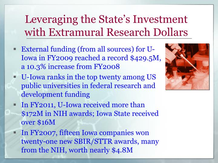 Leveraging the State's Investment with Extramural Research Dollars