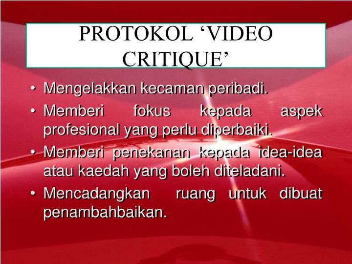 PROTOKOL 'VIDEO CRITIQUE'