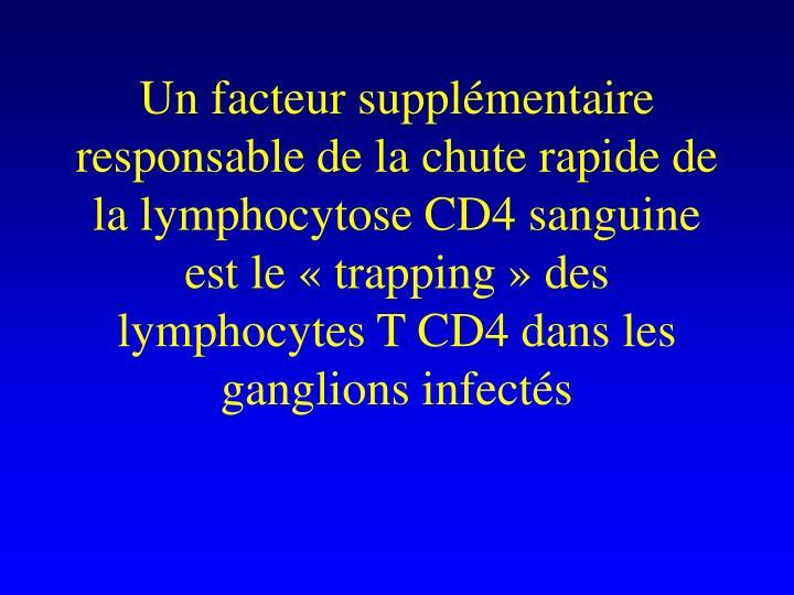 Un facteur supplémentaire responsable de la chute rapide de la lymphocytose CD4 sanguine est le «trapping» des lymphocytes T CD4 dans les ganglions infectés