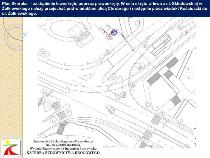 Plac Skarbka  – zastąpienie lewoskrętu poprzez prawoskręty. W celu skrętu w lewo z ul. Skłodowskiej w Żółkiewskiego należy przejechać pod wiaduktem ulicą Chrobrego i następnie przez wiadukt Kościuszki do ul. Żółkiewskiego.